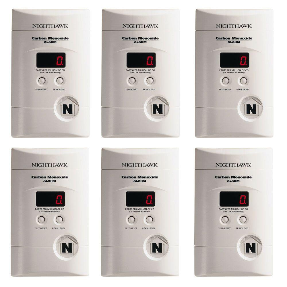 Plug-in Carbon Monoxide Detector with 9V Battery Backup and Digital Display (6-pack)